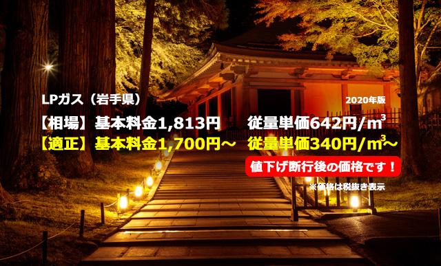 岩手県九戸郡軽米町LPガス相場と適正/中尊寺金色堂