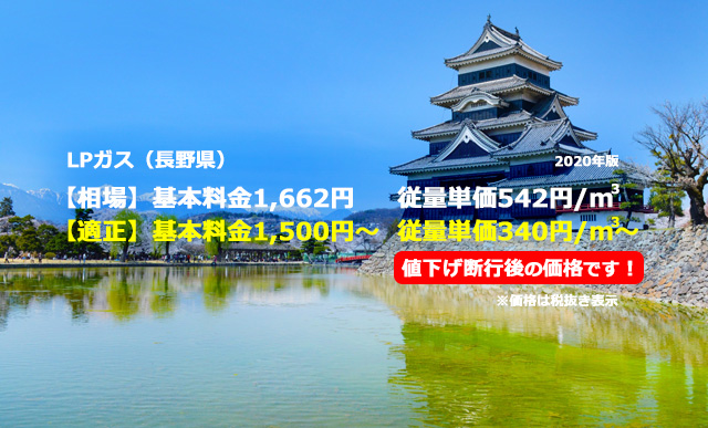 長野県駒ヶ根市LPガス相場と適正/松本城