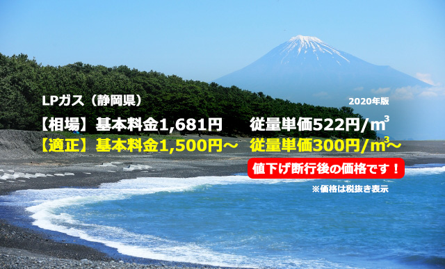 静岡県賀茂郡松崎町LPガス相場と適正/三保の松原 富士山