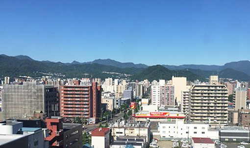 ホテルから見た札幌市の町並み